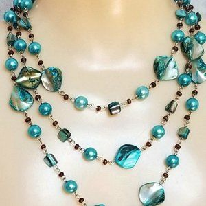Necklace Long Aqua Wear Multiple Ways